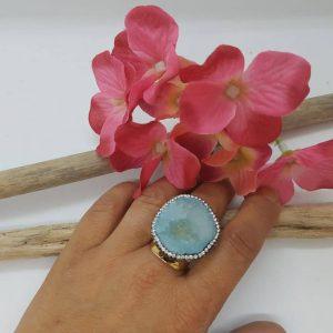 Bague HYPNOCHIC Doré pierre bleu ciel