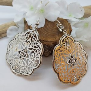 Boucles d'oreilles LUXY Bijoux métal argenté et strass