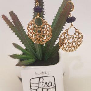 Boucles d'oreilles LISA MIA plaqué-or et perles bleu marine