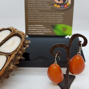 Boucles d'oreilles PACHAMALU en Tagua orange