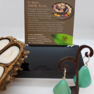 Boucles d'oreilles PACHAMALU en Tagua turquoise