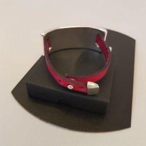 Bracelet Ligne D cuir fushia / plaqué argent