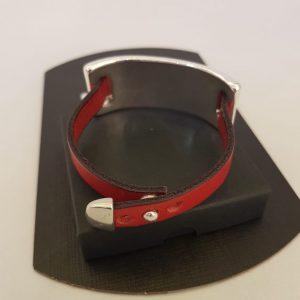 Bracelet Ligne D cuir rouge / plaqué argent
