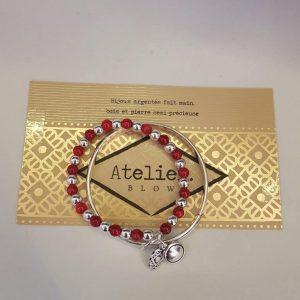 DUO Bracelet pierres naturelles et jonc plaqué argent BLOW Bijoux