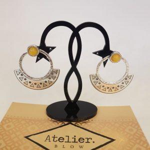 Boucles d'oreilles plaqué argent et pierre naturelle BLOW Bijoux
