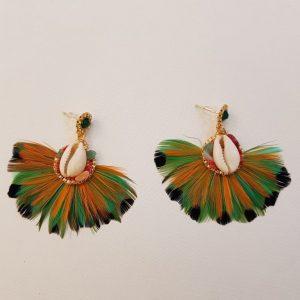 Boucles d'oreilles plumes et coquillage HYPNOCHIC