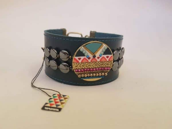 Bracelet cuir et métal laiton TARATATA
