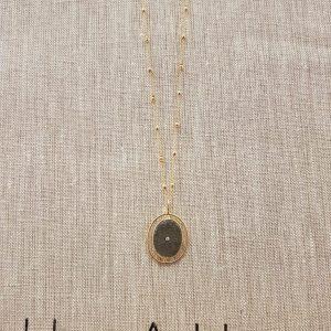 Sautoir Une à Une pendentif médaille pierre PYRITE