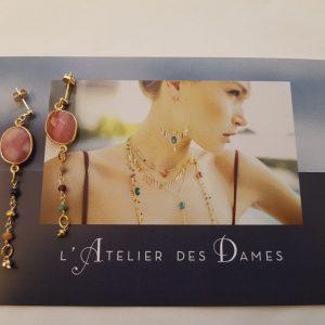 Boucles d'oreilles chaîne et pierres fines L'Atelier des Dames