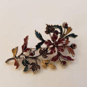 Broche fleurs émaillées