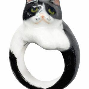 Bague chat PERSAN noir et blanc NACH B127