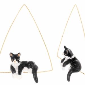 Créoles chat noir et blanc NACH J202