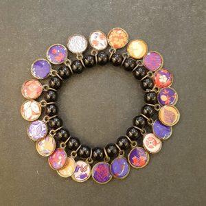 Bracelet LITCHI multi-médailles NOIR