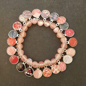 Bracelet LITCHI multi-médailles ROSE