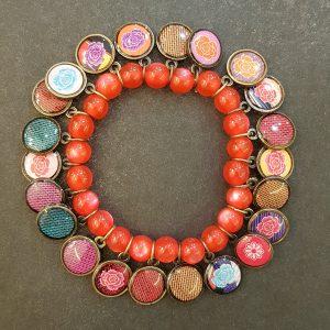 Bracelet LITCHI Multi-Médailles Rouge