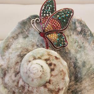 Broche cristal multi-colors papillon
