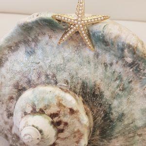 Broche étoile de mer dorée, perles nacrées
