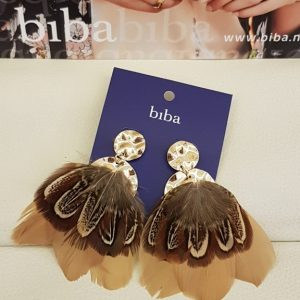 Boucles d'oreilles Plumes BIBA marron