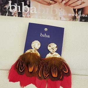 Boucles D'oreilles Plumes BIBA fushia