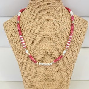 Collier ANARTXY Framboise / Blanc