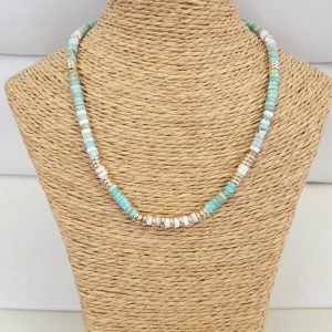 Collier ANARTXY Turquoise / Blanc