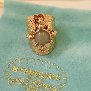 Bague HYPNOCHIC doré, pierre naturelle