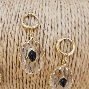 Boucles d'oreilles cristal et pierre naturelle