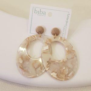 Boucles d'oreilles BIBA marbrée beige