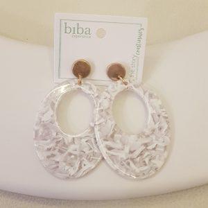 Boucles d'oreilles BIBA marbrée blanc