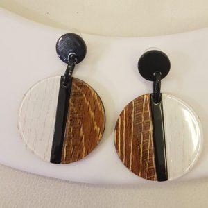 Boucles d'oreilles BIBA noir / blanc /marron